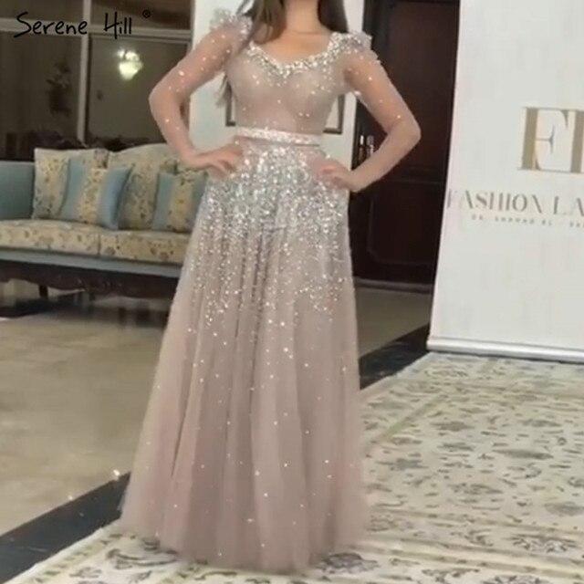 Dubai Argento Rosa Maniche Lunghe Paillettes Abiti da Sera 2020 con Scollo a V Sexy di A line Sparkle Vestito Convenzionale Serena Hill LA70314