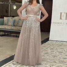 Dubai rosa prata mangas compridas lantejoulas vestidos de noite 2020 decote em v sexy a linha brilho formal vestido sereno hill la70314