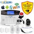 Wi-Fi GSM домашняя охранная сигнализация 433 МГц детектор сигнализация Поддержка телефонной линии PSTN и sim-карты Голосовая Интерком Wifi приложение...