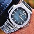 Роскошные брендовые новые Автоматические Мужские механические часы сапфир прозрачный черный синий циферблат Glide soth второй светящиеся часы...