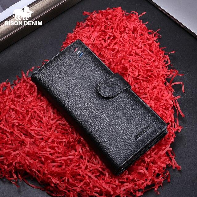 BISON DENIM Luxury Brand Men Long Wallet Card Holder Cowskin Mens Purse Zipper Pocket Quality Male Clutch Genuine Leather N8206