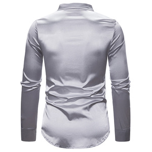 Image 4 - Shiny Silver Sequin Shirt Men 2019 Slim Fit Silk Satin Mens DJ Dance Shirts Night Club Stage Party Shirts Chemise Homme Camisas