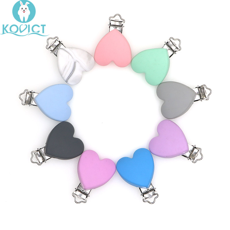 Kovict 3pcs Heart Shaped Pacifier Clips Silicone Baby Nippe Holder Clip Non-toxic Nipple Clasps Pacifier Chain Silicone Rodent