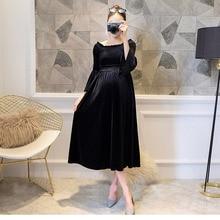 Dress Pregnant-Women Knitted Elegant New Winter Velvet Autumn Gold for Maternity