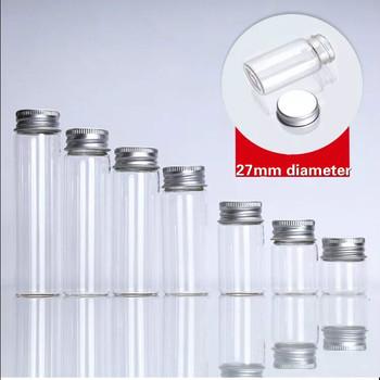 1 sztuk 7 8 12 15 20 25ml szklane butelki śruba góry puste butelki z życzeniami słoiki aluminiowy kapsel Seal słoiki Food Grade butelki słoiki do przechowywania tanie i dobre opinie NoEnName_Null CHINA Miłość Kolorowe glazury