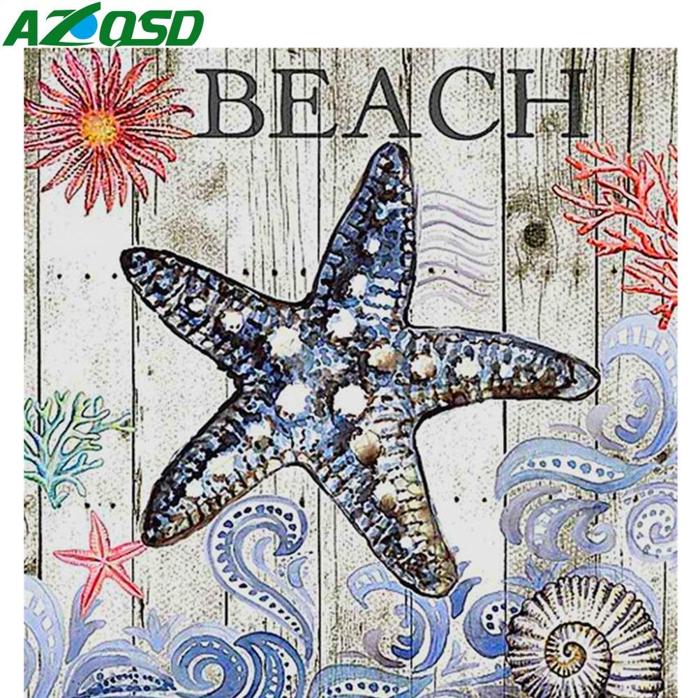 AZQSD pintura de diamantes paisaje marino punto de cruz decoración del hogar cuadrado completo hecho a mano 5d Diy imagen de diamantes de imitación Sin marco sueño Palacio junto al mar por los números de las casas mar vida pintura Digital