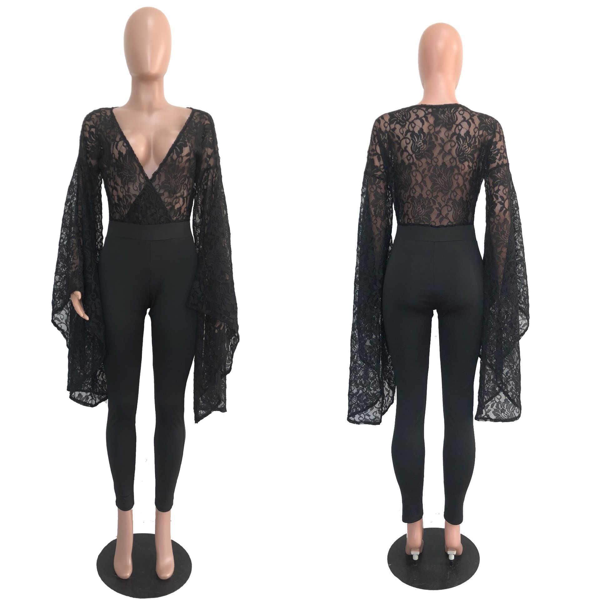 Adogirl сексуальный прозрачный лоскутный кружевной глубокий v-образный вырез комбинезон для женщин повседневные расклешенные рукава вечерние клубная одежда Нарядные комбинезоны Femme комбинезоны