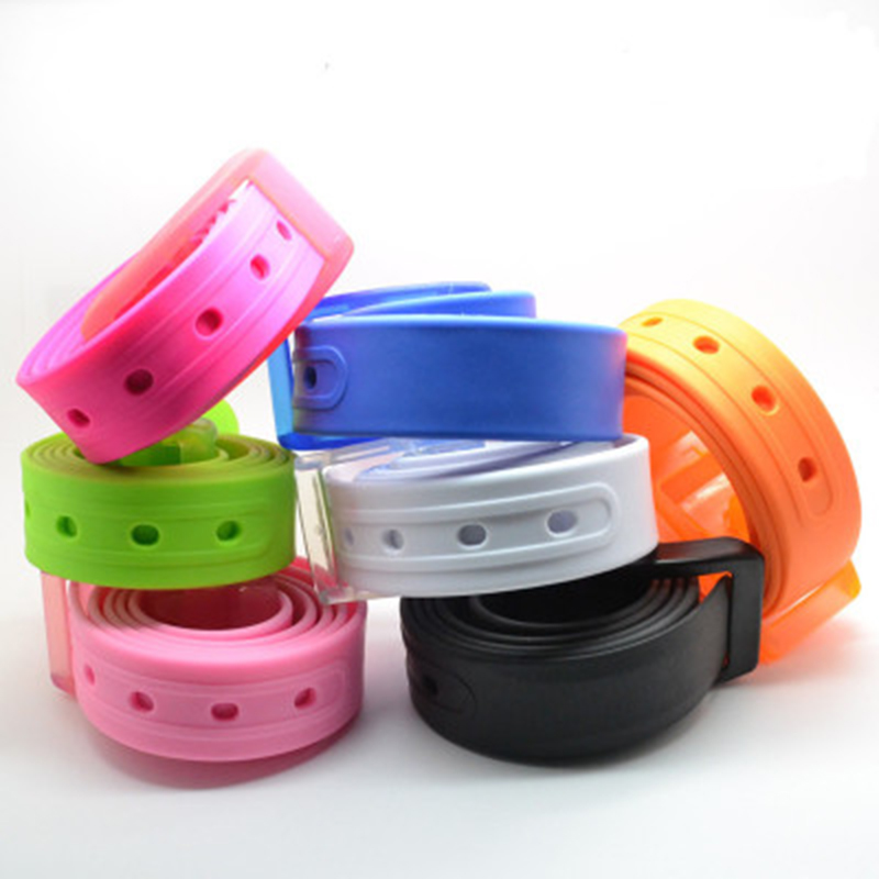 New Eco-Friendly Plastic Belt Unisex Silicone Rubber Belt Korean Style Smooth Buckle For Women Men Unisex Candy Colors 5 Colors