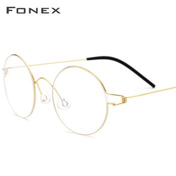 FONEX stopu tytanu ramki okularów mężczyzn rocznika okrągłe okulary kobiety optyczne koreański receptę bezśrubowe 98607 tanie i dobre opinie WOMEN Stałe FRAMES Okulary akcesoria
