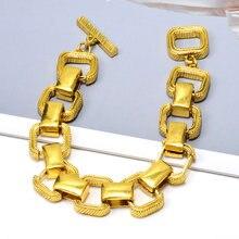 Hurtownie New Arrival komunikat złoty metal kwadratowa bransoletka Bijoux wysokiej jakości Trend mody bransoletki akcesoria dla kobiet