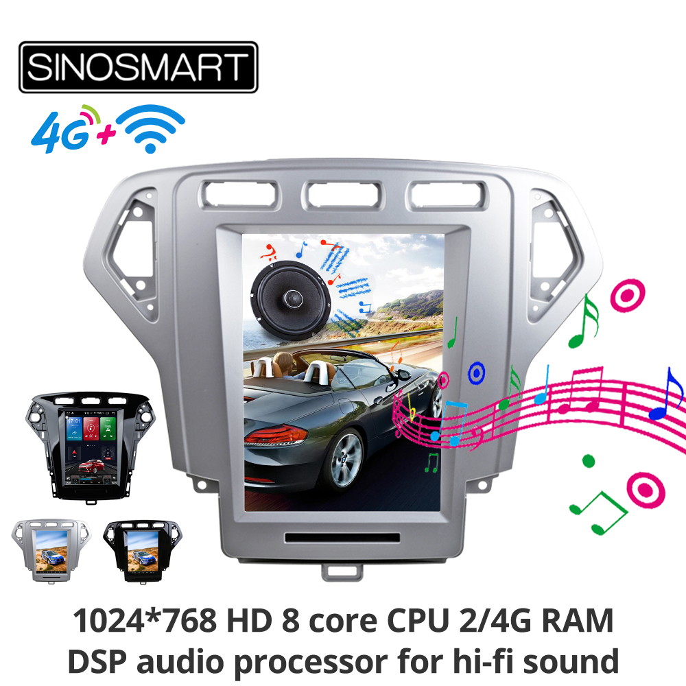 Sinosmart Andriod 8.1 Tesla style Vertical screen car gps multimedia radio navigation player for Ford Mondeo 2007-2010,2011-2013