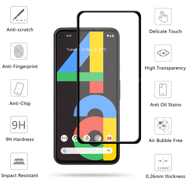 4-in-1 For Google Pixel 4a Glass For Google Pixel 4a Tempered Glass Full Glue HD Screen Protector For Google Pixel 4a Lens Glass 3