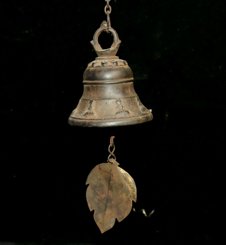 Свадебное украшение старинный тибетский буддизм Храмовая бронзовая фигурка висячий колокольчик Zhong windbell статуя