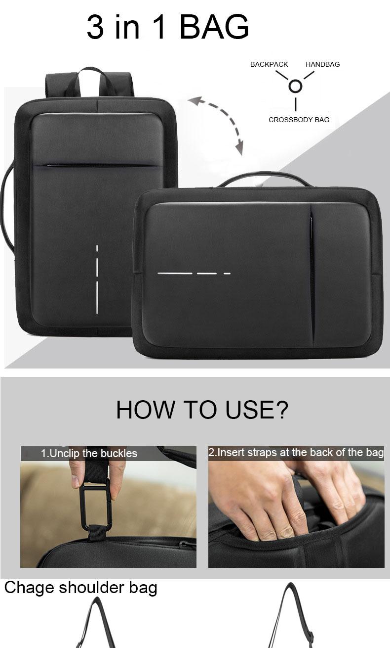 Sac pour ordinateur antivol waterproof avec chargeur USB