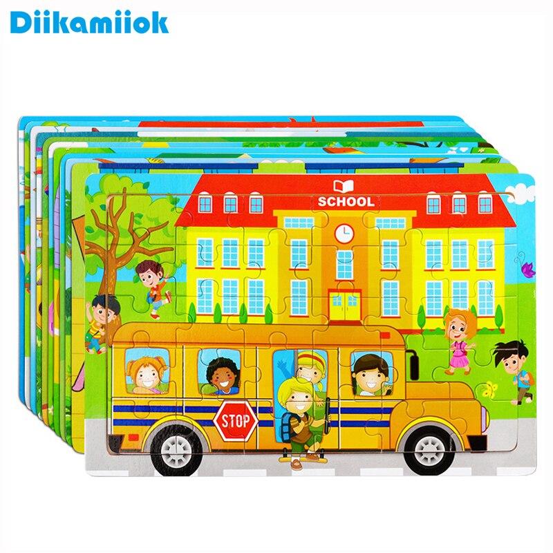 Novo 30 peças de madeira quebra-cabeça animal crianças brinquedo de madeira quebra-cabeças dos desenhos animados veículo bebê aprendizagem brinquedos educativos para crianças