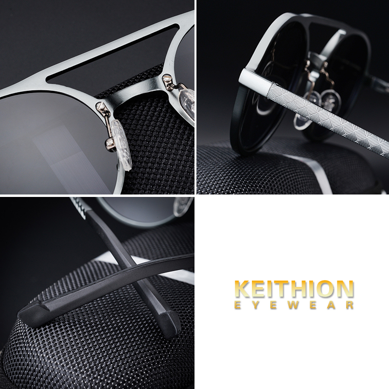Image 4 - KEITHION Designer Steampunk Sun glasses Female Retro Aluminum magnesium Sunglasses Men Round Sunglasses Polarizes oculos de solMens Sunglasses   -