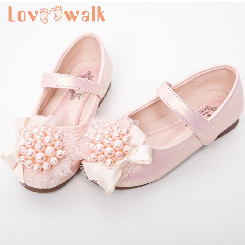Loveewalk Pearls Flower Girl Shoes Princess Flats Spring Summer Mary Jane Shoes New Leather Sandals Shoes For Kids Girls 26-36