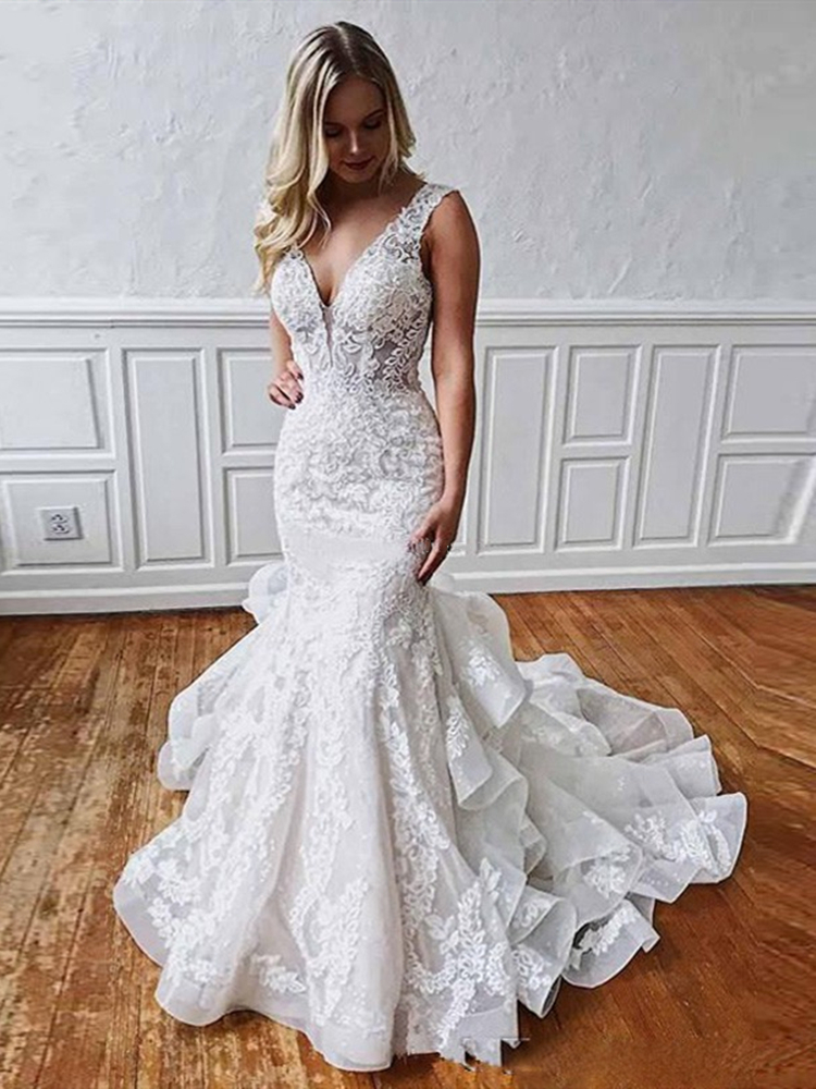 Ruffles Layered Skirt Lace Mermaid Wedding Dress Robe De Mariee Backless Deep V Neck Tiered Bridal Gowns 2019 Modern Design