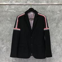 Blazer Men Suit Jacket Wool-Coat THOM Casual Shoulder Brand TB Fashion Cotton British