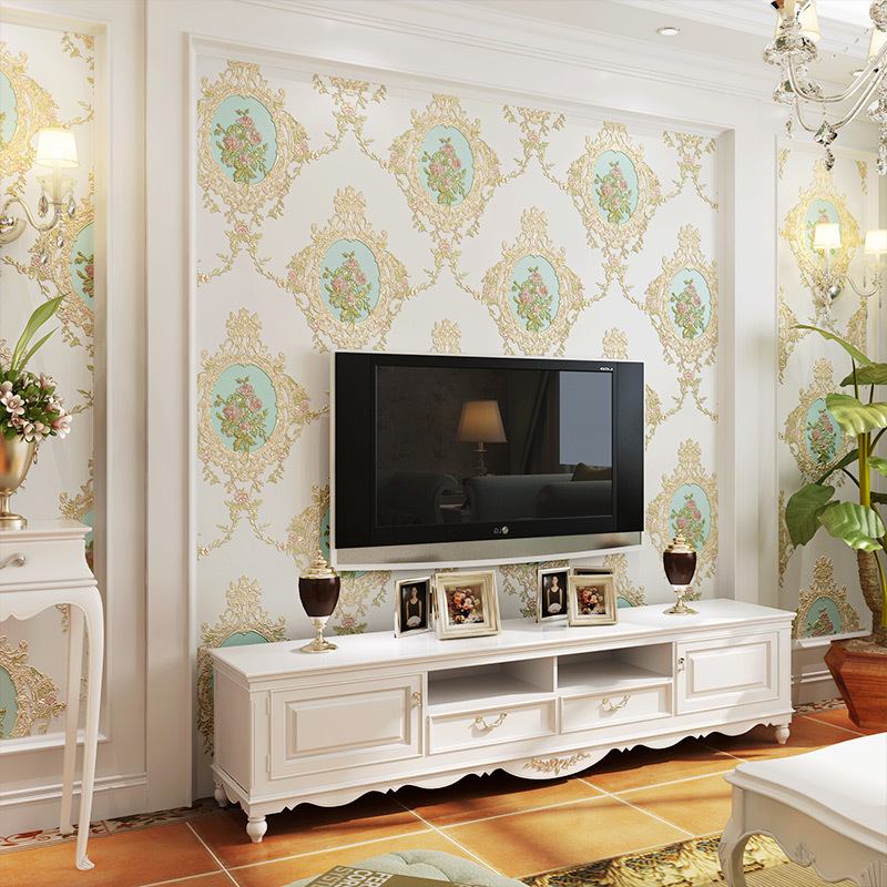 European Style Retro Pastoral Nonwoven Fabric 3D Wallpaper American-Style Mirror Flower Bedroom AB Version Of Living Room Televi