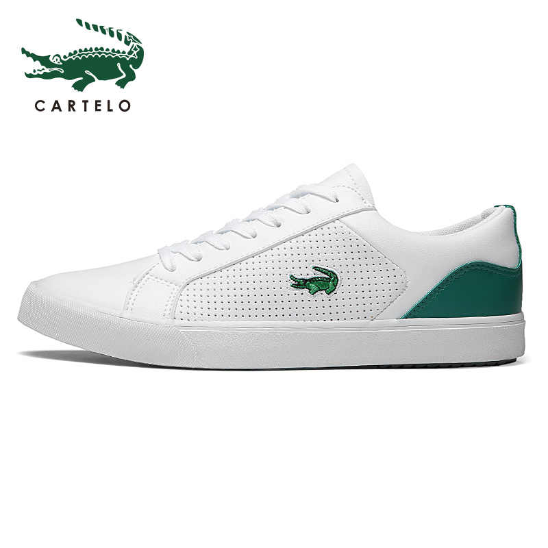CARTELO 2020 New Casual Shoes 남성 가죽 플랫 슈즈 레이스 업 로우 탑 스니커즈 Tenis Masculino