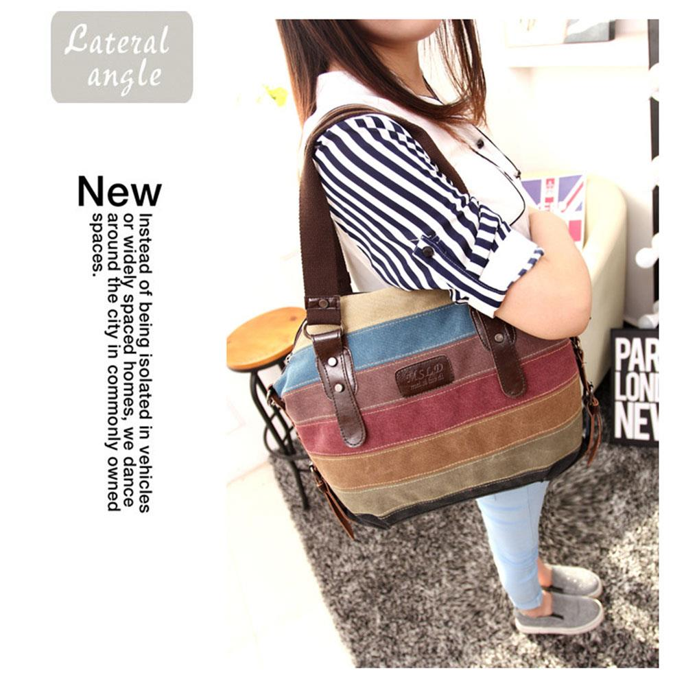 Rainbow Stripe Handbag Shoulder Bag Canvas Satchel Satchel Fashion Tote Novelty