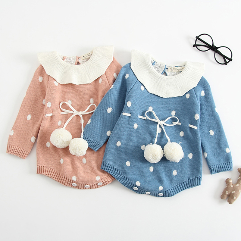 Autumn Baby Knitted Clothes Newborn Baby Girls Romper Long Sleeve Woolen Pompom Infant Jumpsuit For Girls Boys Overalls Clothes