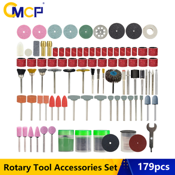 CMCP 179pcs Rotary Tool Accessories Set For Dremel Drill Abrasive Tools Set For Grinding Sanding Polishing Cutting Tool rijilei 136pcs dremel rotary tool accessory attachment set kits grinding sanding polishing sander abrasive for grinder