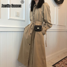 Mid-length Single-breasted Thin Women's Long Trench Coat Autumn High Quality Kha