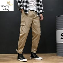 Korean New Casual Ankle Length Mens Jogging Cargo Fashion Drawstring Waist Big Pockets Loose Plus Size Male Harem Pants(China)