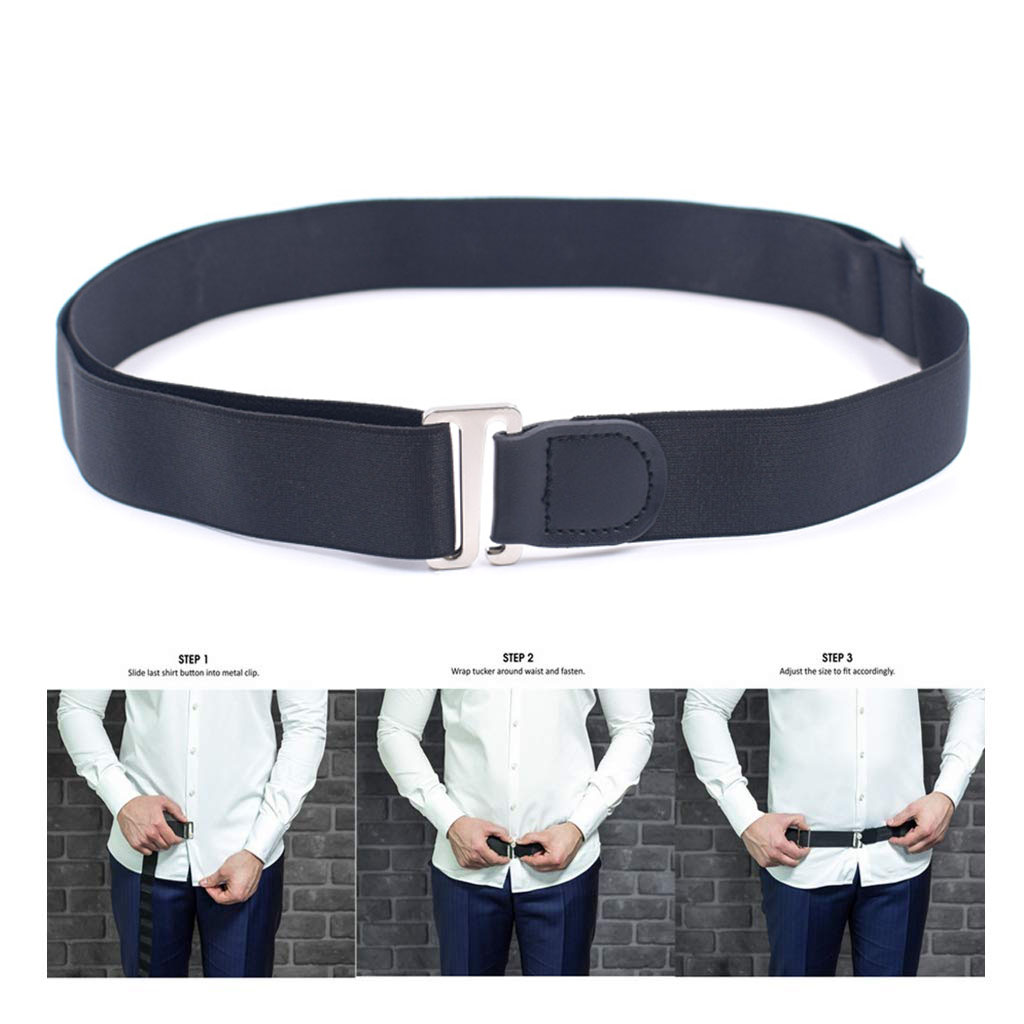 Non Slip Shirt Stay Belt Black Adjustable Near Shirt Stays Tuck It Belt Shirt Holders For Women Men Formal Dressing Accessories