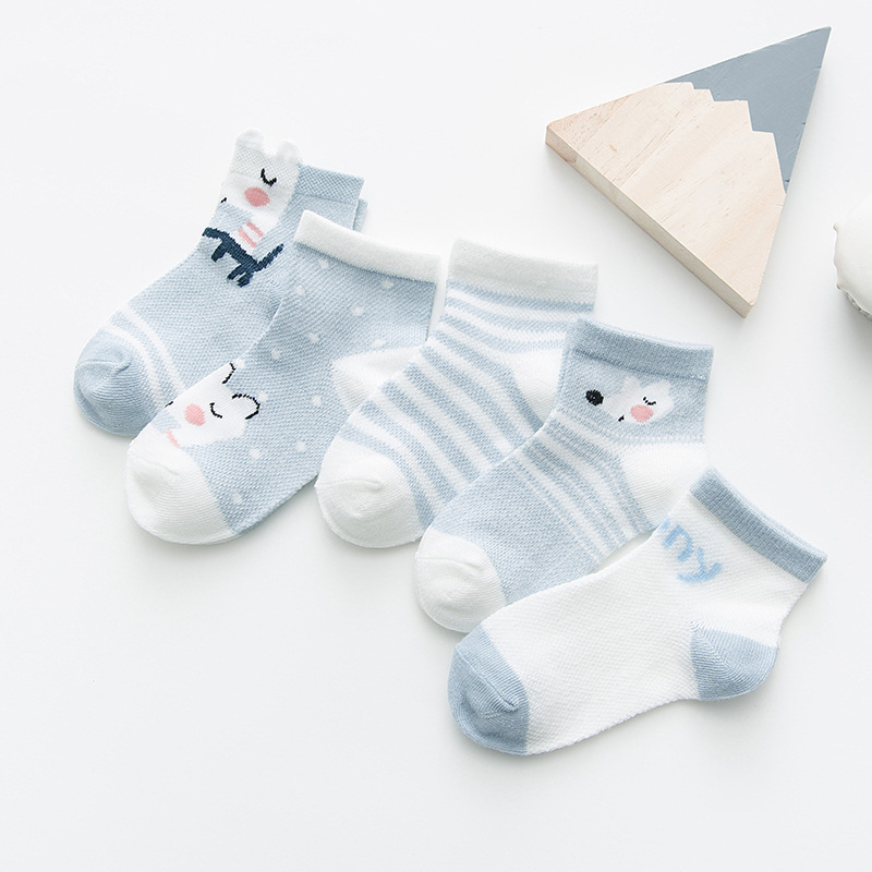 5 Pairs/lot Mesh Thin Baby Boy And Girls Socks Fruit Funky Ankle Anti Slip Thermal Cotton Socks  Infant Clothing Accessories