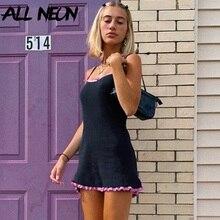 ALLNeon 2000s Aesthetics Pink Lace Trim Black Cami Dresses Pastek Goth Y2K Spaghetti Strap Ribbed A-line Mini Dress Cute Fashion