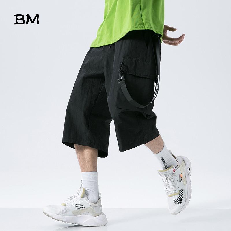 2020 Summer Loose Fashion Casual Pants Men Korean Style Clothes Hip Hop Sports Cropped Pants Streetwear Harajuku Straight Pants