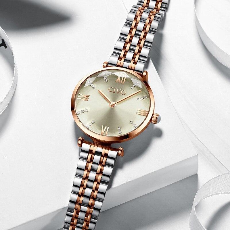 CIVO 2019 mode luxe dames montres-bracelets Top marque Rose or Bracelet en acier étanche femmes Bracelet montre Zegarek Damski