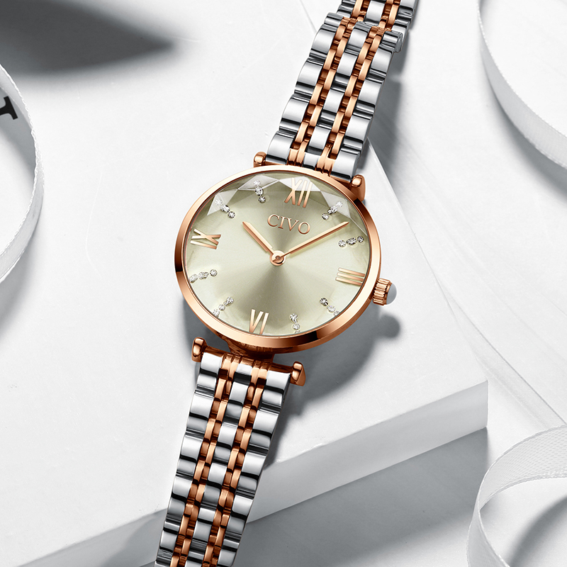 CIVO 2020 Fashion Luxury Ladies Wrist Watches Top Brand Rose Gold Steel Strap Waterproof Women's Bracelet Watch Zegarek Damski