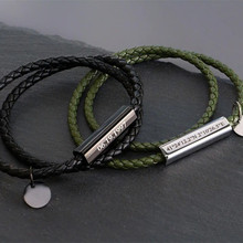 Personalized Braided Rope Genuine Leather Bracelets Custom Engraved Name/Date/Text Charm Magnetic Clasps Bracelets Women Jewelry