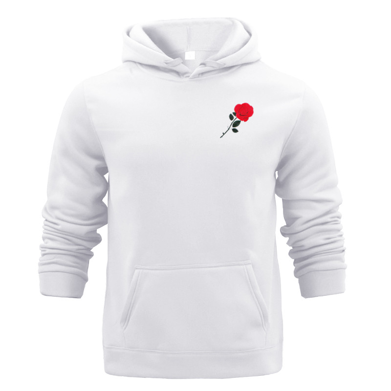 Winter Autumn Fleece White Sweatshirt Men Hoodie Rose Printed Hoody Casual Gray Blue Red Black White Streetwear Big Pocket Cloth