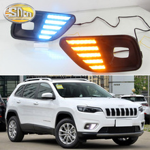 2pcs For Jeep Compass 2017 2018 LED DRL Daytime driving Running Lights Daylight fog Lamp yellow turn signal light osmrk led drl daytime running light for jeep renegade with yellow turn signal wireless switch control