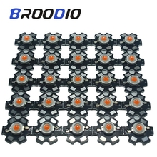 Broodio 10pcs 1W 3W High Power LED Full Spectrum Yellow Purple  660nm Royal blue UV IR With 20mm Black Star PCB Bulb Lamp