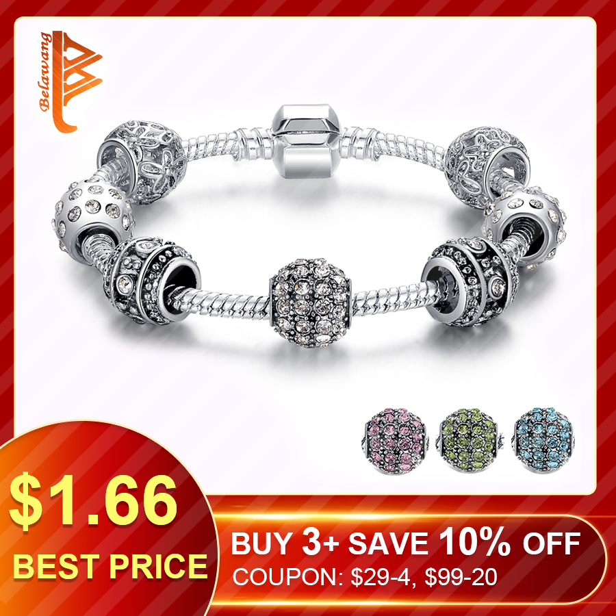 Bela European Style New 2015 Luxury 925 Silver Bracelet for Women With High Quality Glass Beads DIY Jewelry Gift PS3005 tartan