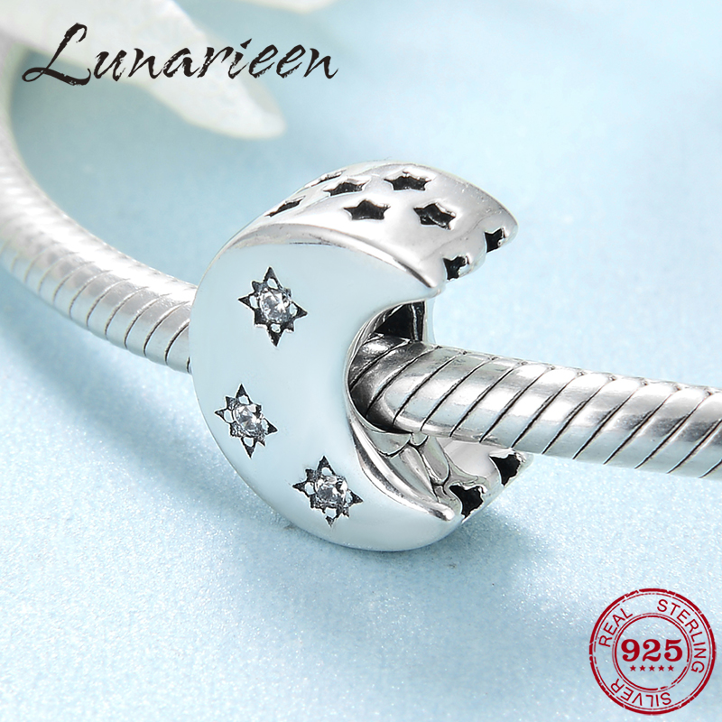 New 925 Sterling Silver Fashion Moon Shape Clear CZ Beads Jewelry Making Fit Pandora Bracelets Necklace Jewelry Making