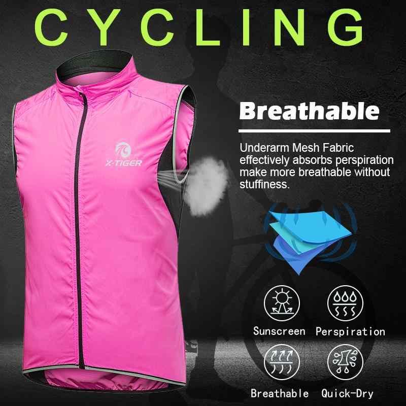 X-TIGER Frauen Winddicht Radfahren Weste Sleeveless Reflektierende MTB Bike Jacke Outdoor Sport Lauf Reiten Quick-Dry Radfahren Jacke