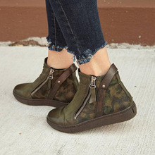Autumn Winter Boots Large Size Camouflage Couple Single Boot Children European and American Low Belt Button Martin