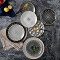 6 pces 8 /10 polegada utensílios de mesa phnom penh geometria utensílios de mesa cerâmica prato de jantar porcelana sobremesa placa louça bolo placa