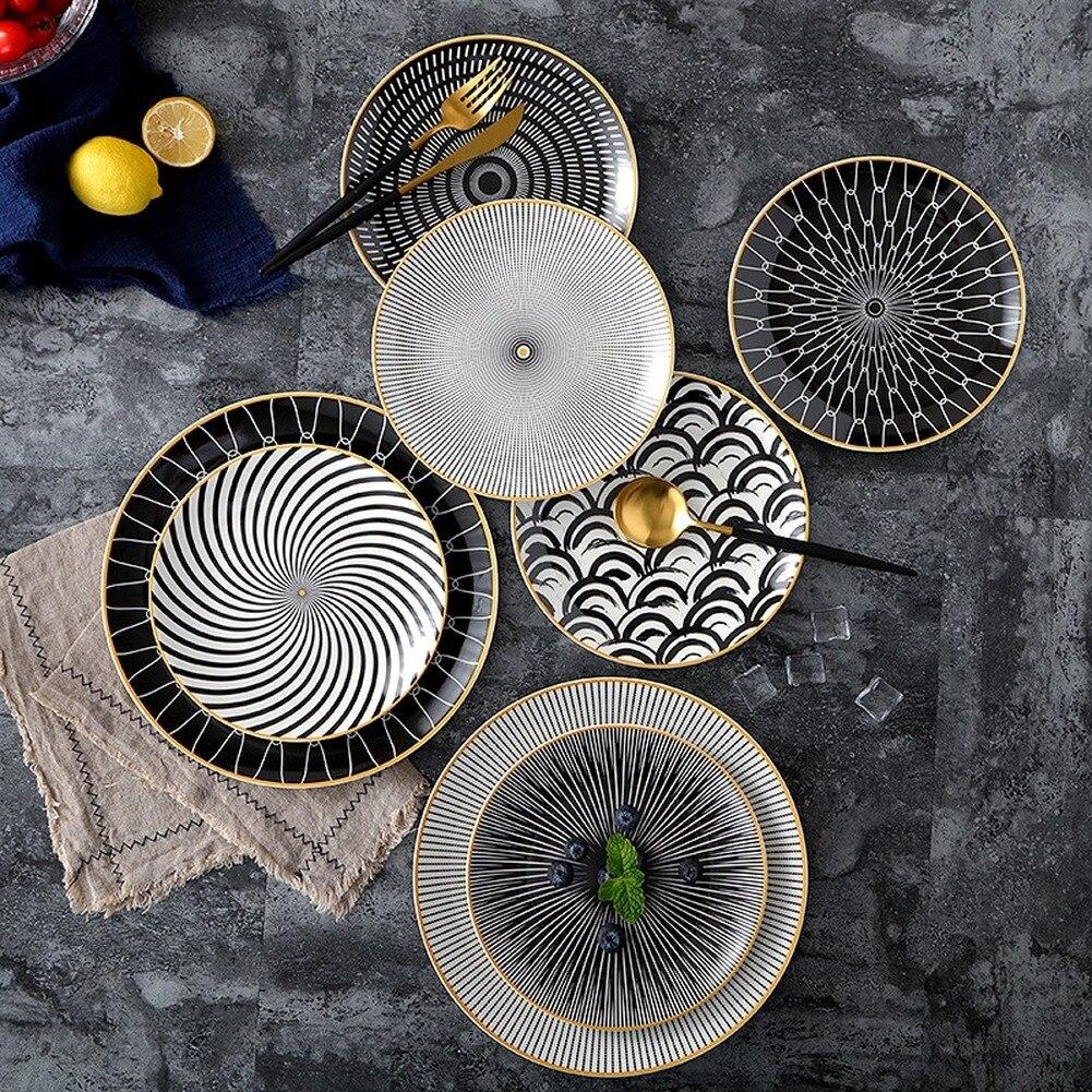6 pièces 8 /10 pouces vaisselle Phnom penh géométrie vaisselle en céramique assiette à dîner plat porcelaine dessert assiette vaisselle assiette à gâteau