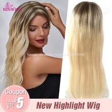 K.S – perruque Lace Frontal Wig Remy naturelle, cheveux lisses à reflets, brun blond ombré, 13x6, naissance des cheveux naturelle, 24 pouces