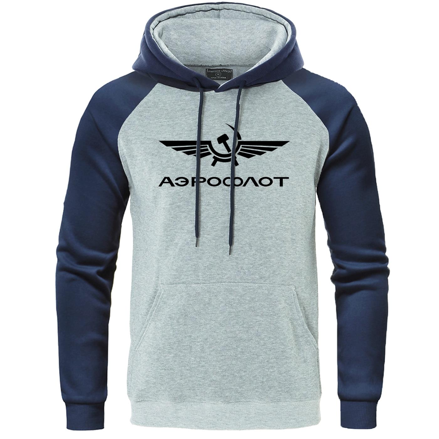 Autumn Fleece Warm Mens Hoodies Fashion O-Neck Stylish Aeroflot CCCP Civil Aviation Russe Airforce Raglan Sweatshirt Pullover