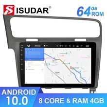 Isudar 1 Din Automotivo Radio Android 10 dla VW/Volkswagen/Golf 7 GPS samochodowy odtwarzacz multimedialny Octa Core RAM 4GB ROM 64GB DVR DSP