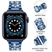 Blau Bands Für Apple Uhr 6 5 4 SE 40mm 44mm armband correa frauen pulseira armband für iwatch serie 6 5 4 3 Strap 38mm 42mm